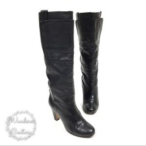 Dolce Vita Black Leather Tall Heeled Boots